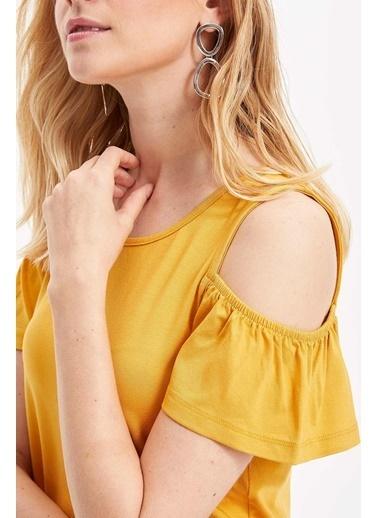 DeFacto Omuz Dekolteli Örme Elbise Sarı